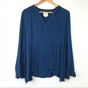 Anthropologie Maeve Navy Blouse